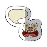 sticker colorful face cartoon gesture with dialogue cloud Stock Photography