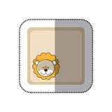 sticker colorful greeting card with picture lion animal Royalty Free Stock Images