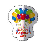 sticker colorful group balloons with happy fathers day letters Royalty Free Stock Photos