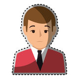 Sticker colorful half body man formal style Stock Image