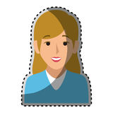 Sticker colorful half body woman with blond long hair. Vector illustration Royalty Free Stock Images