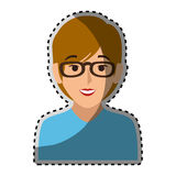 Sticker colorful half body woman with short hair and glasses Stock Photo