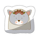 Sticker colorful and half shadow with face of bride bear Stock Image