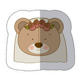Sticker colorful and half shadow with face of bride bear Stock Photography