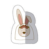 Sticker colorful and half shadow with face of bride rabbit Stock Photography