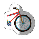 Sticker colorful medium part bicycle with pedals Royalty Free Stock Photos