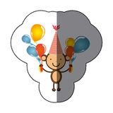 sticker colorful monkey animal with hat party and balloons icon Stock Photography