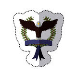 sticker colorful with olive crown with ribbon and eagle with open wings Royalty Free Stock Photography