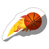 Sticker colorful olympic flame with basketball ball. Illustration Royalty Free Stock Image