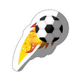Sticker colorful olympic flame with soccer ball Royalty Free Stock Photography
