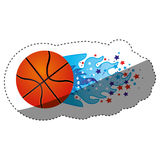 Sticker colorful olympic flame with stars and basketball ball. Illustration Stock Photo