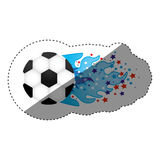Sticker colorful olympic flame with stars and soccer ball Stock Image