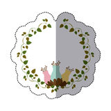 sticker colorful ornament creepers with flowerbud Royalty Free Stock Image