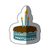 Sticker colorful picture birthday cake with candles. Illustration Royalty Free Stock Photography