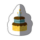 Sticker colorful picture birthday cake two floors with candles. Illustration Stock Photos