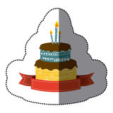 Sticker colorful picture birthday cake two floors with candles and ribbon. Illustration Royalty Free Stock Photo