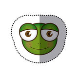 sticker colorful picture face of frog with big eyes Royalty Free Stock Photography