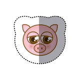 sticker colorful picture face of pig with big eyes Royalty Free Stock Photos