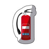 Sticker colorful realistic fire extinguisher icon. Illustration Stock Images