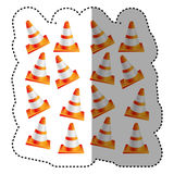 sticker colorful realistic pattern traffic cone set Stock Images