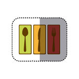 sticker colorful rectangle banner frame with silhouettes cutlery kitchen elements Royalty Free Stock Photography