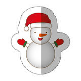 Sticker colorful silhouette cartoon snowman christmas design. Illustration Stock Photography