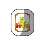 Sticker colorful silhouette curved rectangle decorative heraldic frame with still life fruits Royalty Free Stock Photography