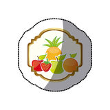 Sticker colorful silhouette decorative heraldic frame with still life fruits Stock Images
