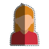 Sticker colorful silhouette faceless half body woman with long blond hair Royalty Free Stock Photo