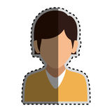 Sticker colorful silhouette faceless half body woman with straight short hair Stock Photo