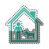 Sticker colorful silhouette house with man and his dog Royalty Free Stock Image