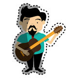 Sticker colorful silhouette singer with acoustic guitar Royalty Free Stock Image