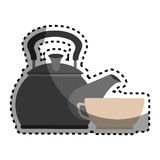 Sticker colorful silhouette with tea kettle and porcelain cup Stock Photos