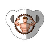 sticker colorful stamp border with muscle man lifting a disc weights Royalty Free Stock Photo