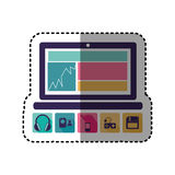 Sticker colorful tech laptop with icon apps. Illustration stock illustration