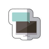 Sticker colorful tech screen computer in wide flat dialogue callout box. Illustration Royalty Free Stock Image