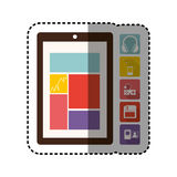 Sticker colorful tech table and icon apps. Illustration Royalty Free Stock Photography