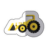 Sticker colorful tractor loader building machine Royalty Free Stock Photography