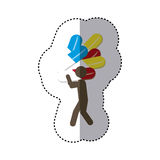Sticker colorful worker holding up capsule drugs Royalty Free Stock Images