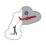 Sticker colorful worker with pulley holding small figure airplane. Illustration Stock Photos