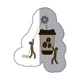 Sticker colorful workers with pulley holding big disposable for hot drinks with lid Royalty Free Stock Photos
