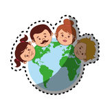 Sticker colorful world with family faces Stock Image