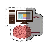 Sticker computer desktop and usb connected to brain. Illustration Stock Image