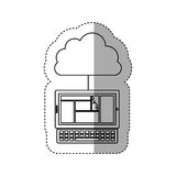 Sticker contour cloud in cumulus shape connected to laptop Royalty Free Stock Photography