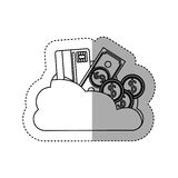 Sticker contour cloud in cumulus shape with elements investment. Illustration Stock Photo