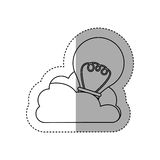 Sticker contour cloud in cumulus shape with light bulb with filaments. Illustration Stock Photography