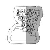 Sticker contour cloud in cumulus shape with set collection investment and tech. Illustration Stock Image