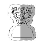 Sticker contour cloud in cumulus shape with set collection investment and tech. Illustration Stock Photo