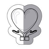 Sticker contour of hands holding a big heart with glow. Vector illustration Stock Photography