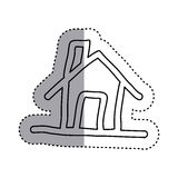 sticker contour house with chimney icon flat Stock Photo